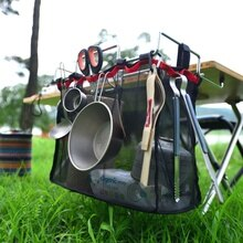 Camping en plein air fil stockage Rack Portable sac pique-nique Table Barbecue Kit cuisine articles divers filet costume camping équipement