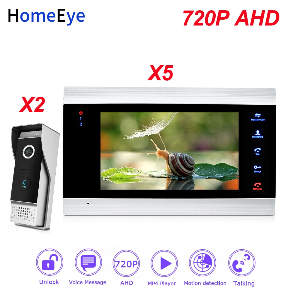 HomeEye 720P AHD Video Door Phone Video Intercom 2-5 Home Access Control System Wide View Angle Motion Detection Security Alarm