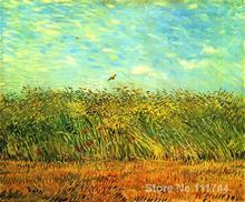 رسمت باليد الفن على قماش فنسنت فان جوخ اللوحة حقل القمح مع قبرة للبيع جودة عالية