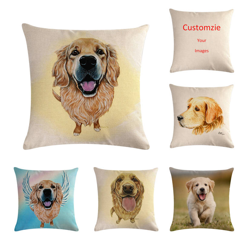 45 см * 45 см собака золотого ретривера голова картина лен/хлопок пледы наволочки на диване Наволочка на диване декоративные подушки для дома