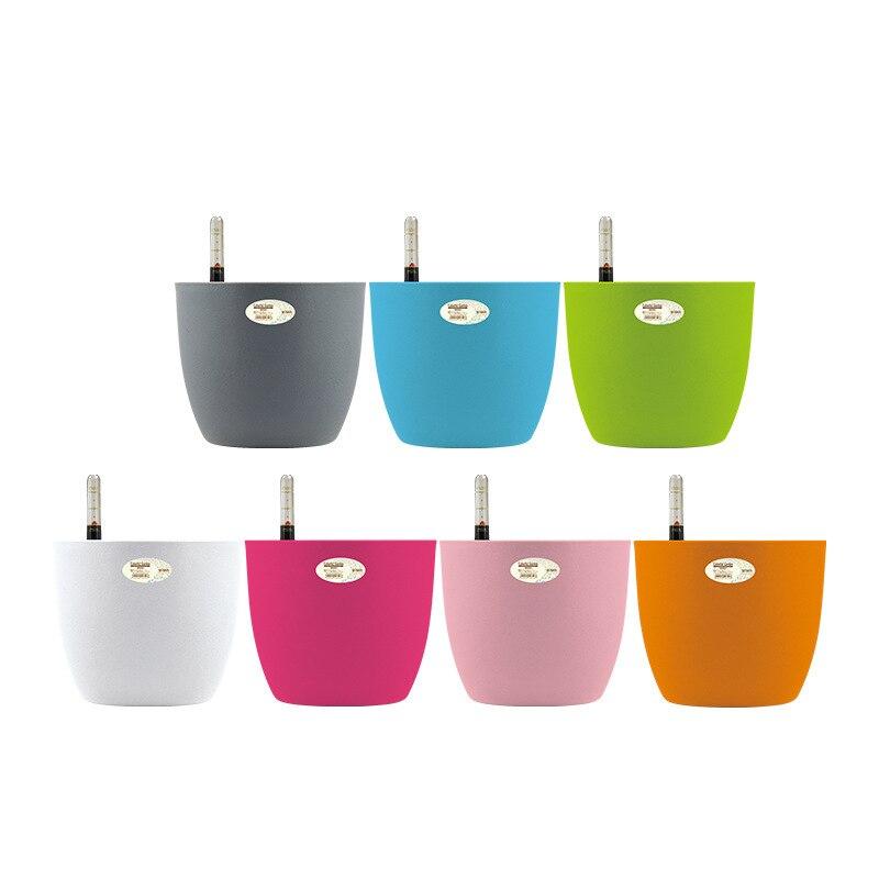 Estilo moderno mini/pequeno/médio/grande quatro cores auto rega pote planta plantador de flores com indicador de nível de água