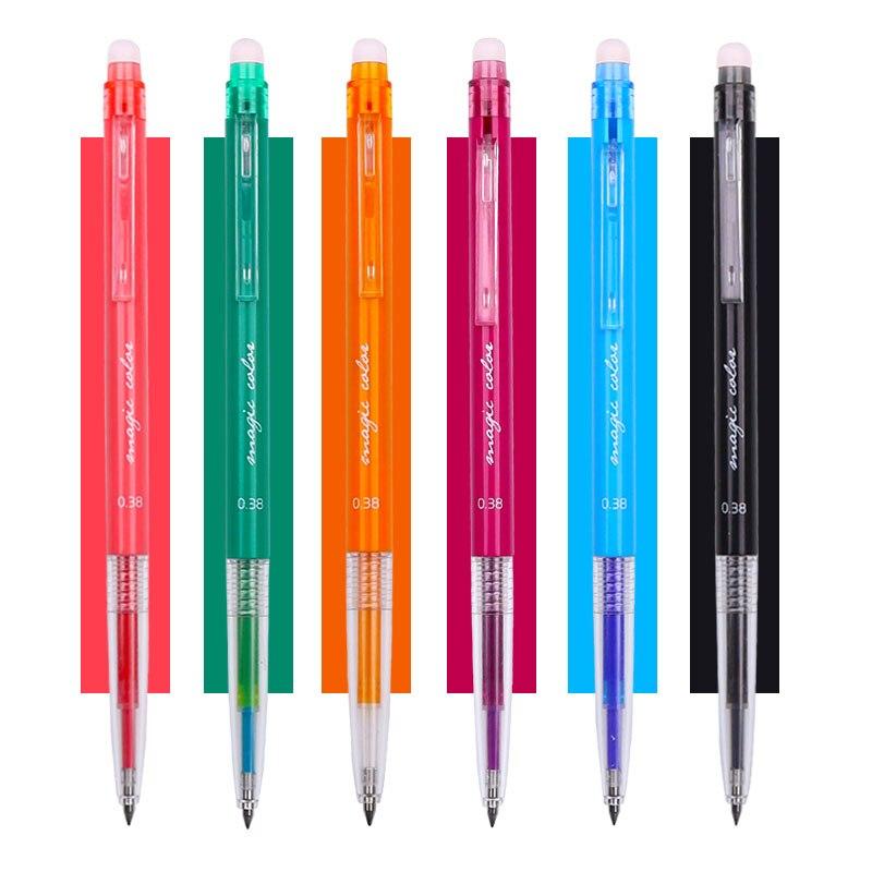 Bolígrafo borrable retráctil Kawaii de M & G de 6 colores, bolígrafos de colores con tinta de Gel de 0,38mm, borradores de escritura, suministros para transferencia de calor
