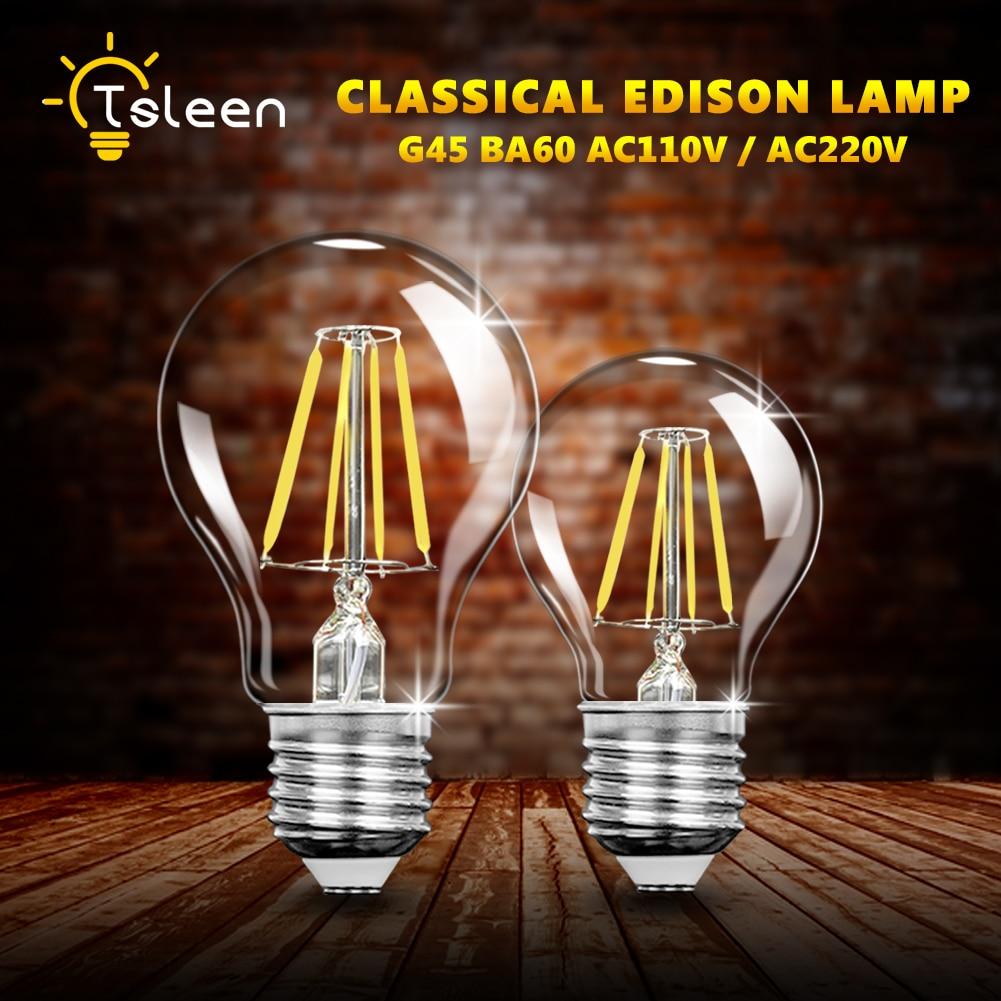 TSLEEN дешево! Светодиодная лампа Эдисона в стиле ретро, Е27, 4/8/16 Вт, 110 В, 220 В