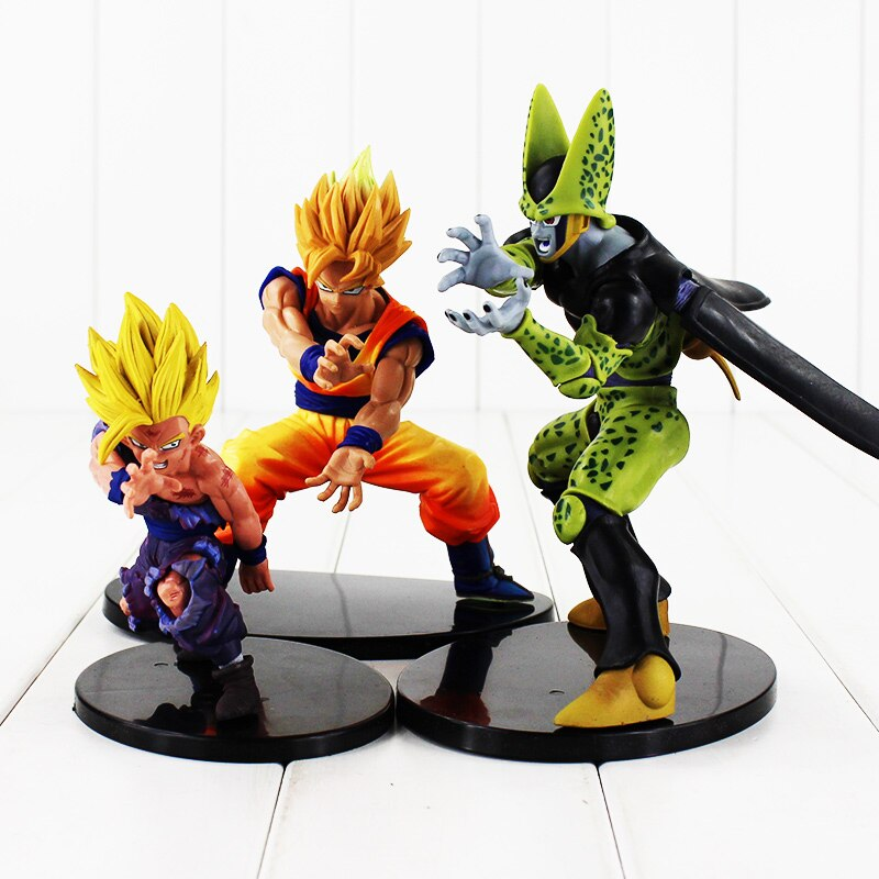 3Styles 12-18cm Anime Dragon Ball Z Figure Dramatic Showcase Super Saiyan Son Goku Son Gohan Cell PVC Figures Model Toys
