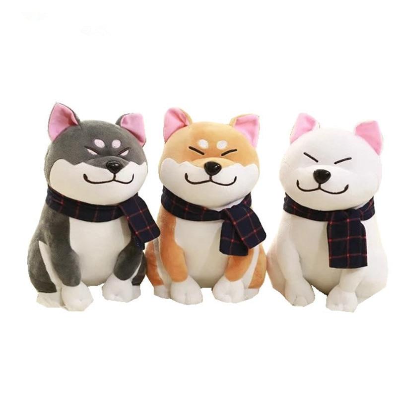 25cm Scarf Shiba Inu Dog Plush Toy Japanese Doll Doge Dog Stuffed Animal Toys Children Gift