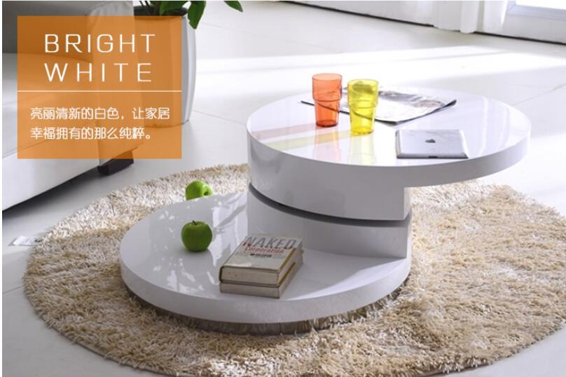 Familia pequeña Simple. ¿Mesa de té redonda? Mesa de laca blanca y negra para hornear