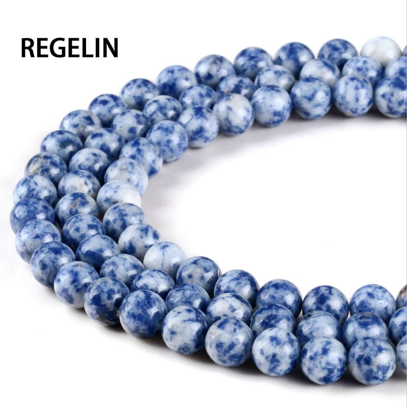 REGELIN White Dot Blue-vein Sodalite Natural Stone Beads For Jewelry Making Diy Material For Bracelet 4mm6mm8mm 10mm 12mm Strand