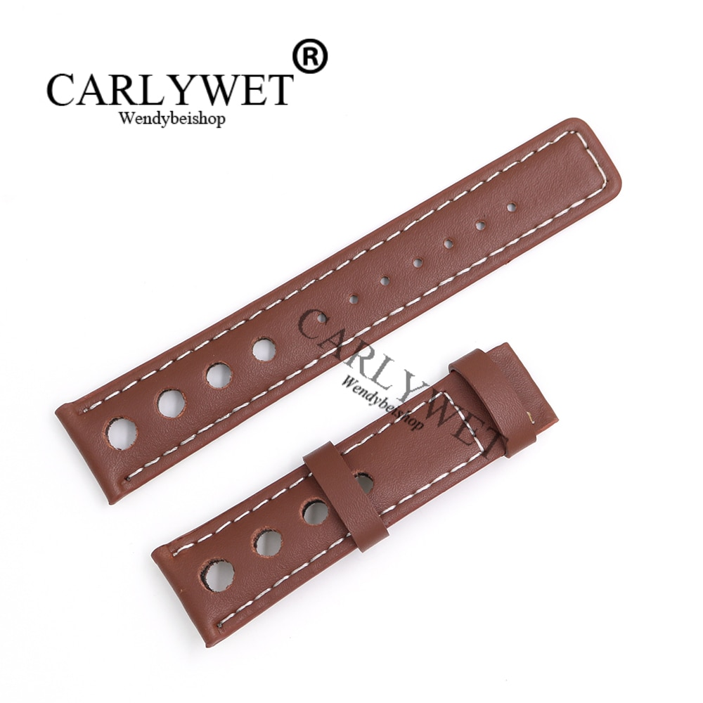genuine leather 20mm watchbands for tissot prs516 series t91 men leather watch strap sport watch band male clock bracelet belt CARLYWET 20mm Popular Real Calf Leather Handmade Brown With White Stitches Wrist Watch Band Strap Belt For T91 PRS516