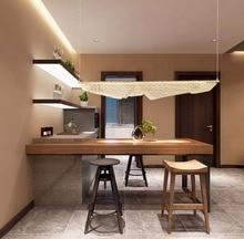 Europe du nord poste moderne lustre lampe salon fer creux salle à manger éclairage Art disque Shell vitré tablette lustre
