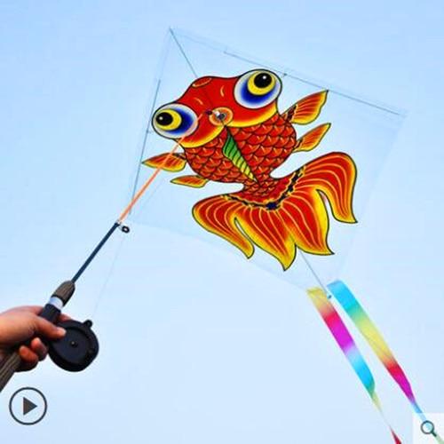 Envío Gratis caña de pescar cometa de plástico al aire libre juguetes para niños kite Cadena de cometas de paracaídas fábrica weifang Albatros
