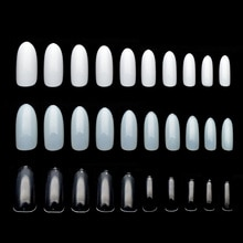 Uñas postizas transparentes/naturales/blancas ultradelgadas, cubierta completa de acrílico ovalada, manicura de moda, uñas postizas Rrubber JZJ3014