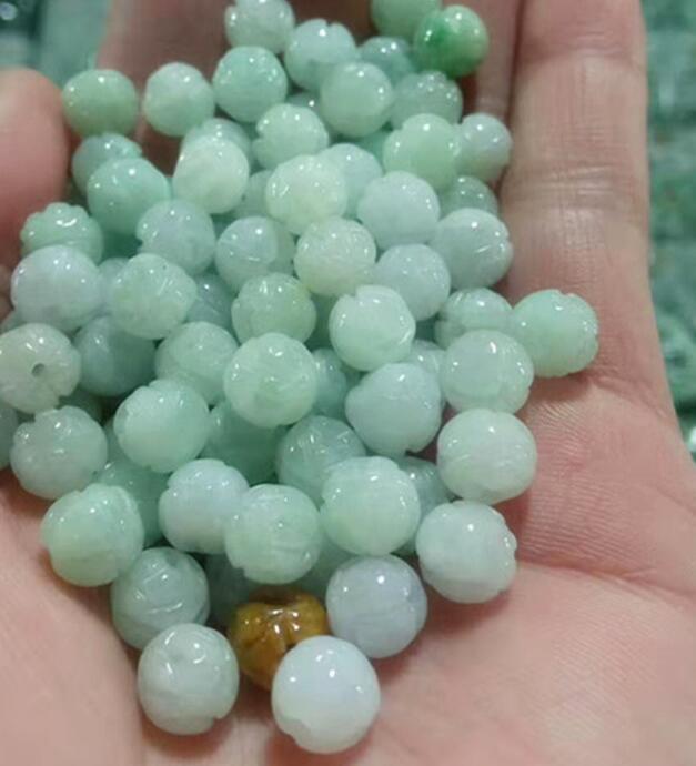 De jadeíta natural perlas sueltas talla lotus auténtico jade DIY hecho a mano de collar de pulsera de perlas