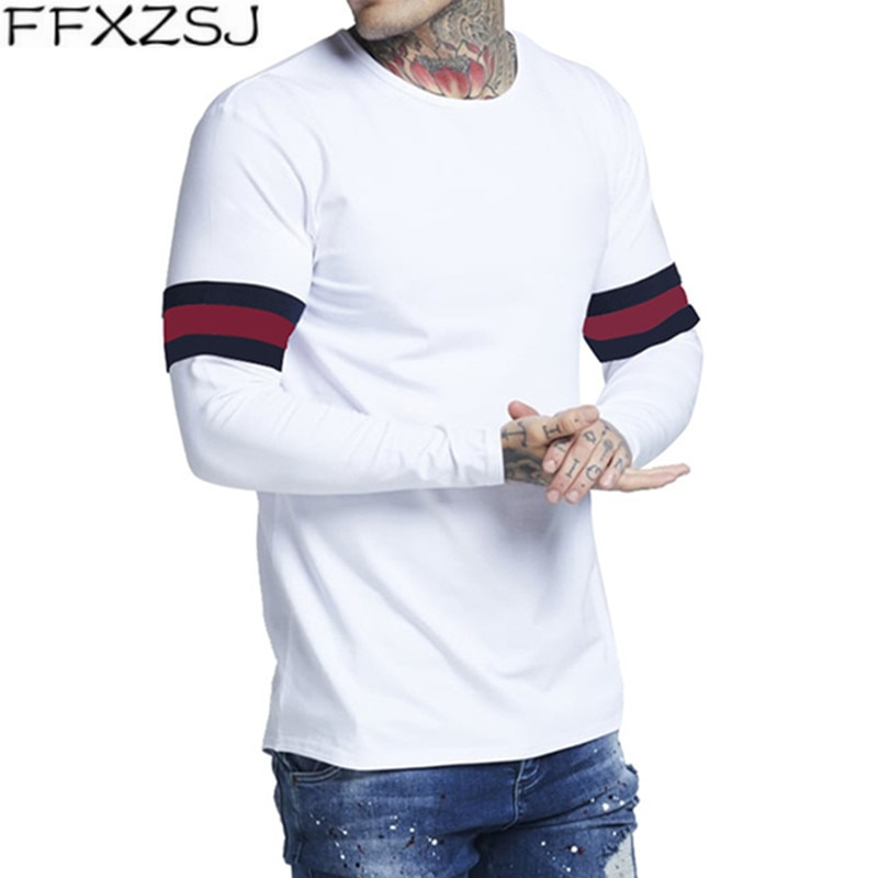 FFXZSJ Brand 2019 spirng new long sleeve t shirt design Eu size 3xl striped tee homme slim camiseta hombre