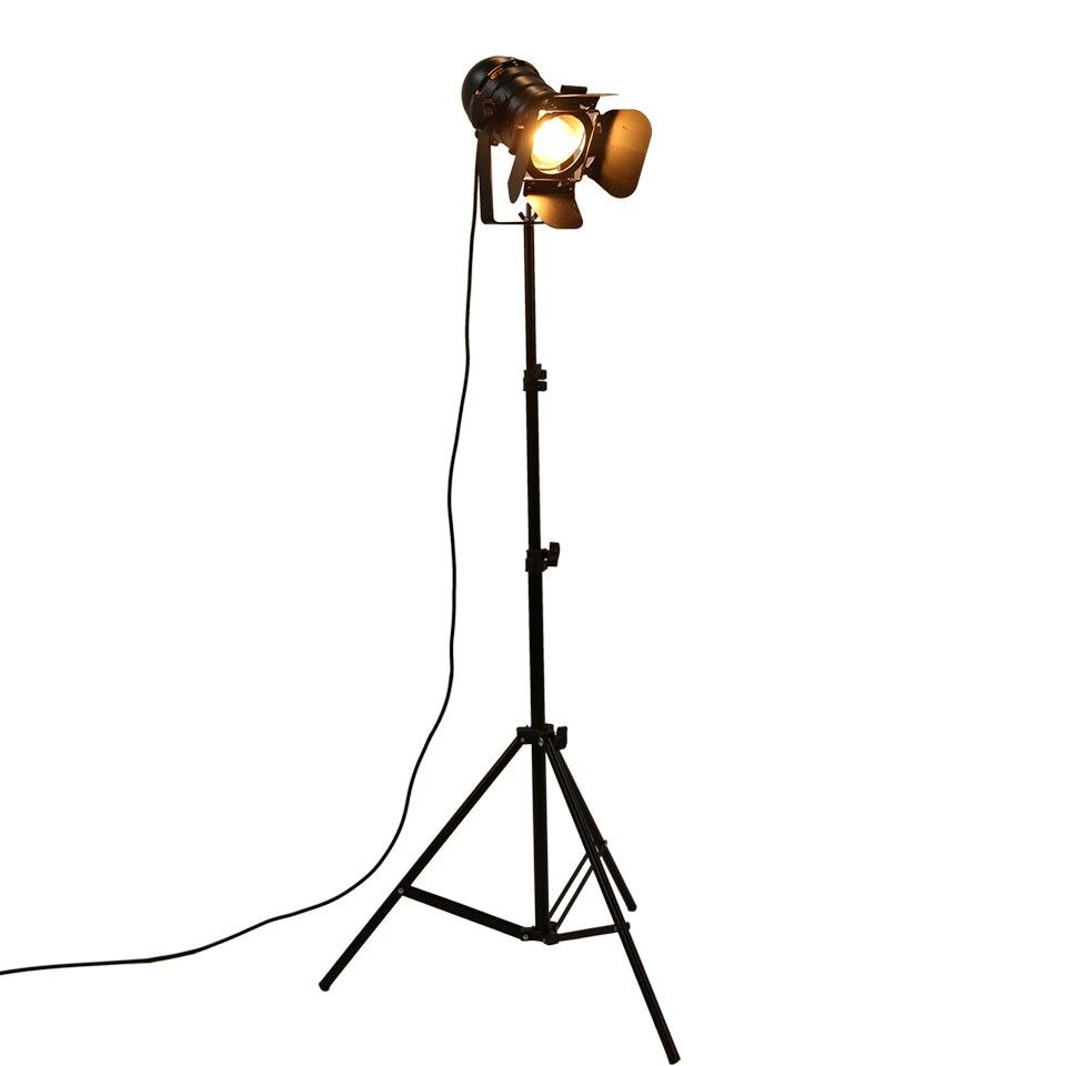 Barra industrial criativo estúdio retro tripé preto luzes da lâmpada de assoalho sala luz suporte iluminação teto