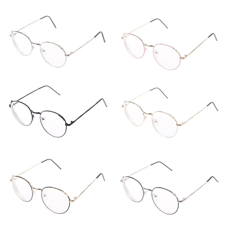 Women Retro Cat Eye Myopia Eyepieces Optical Round Metal Frame Glasses Flat Mirror -1.0 -1.5 -2.0 -2.5 -3.0 -3.5 -4.0 -5.0 -5.5