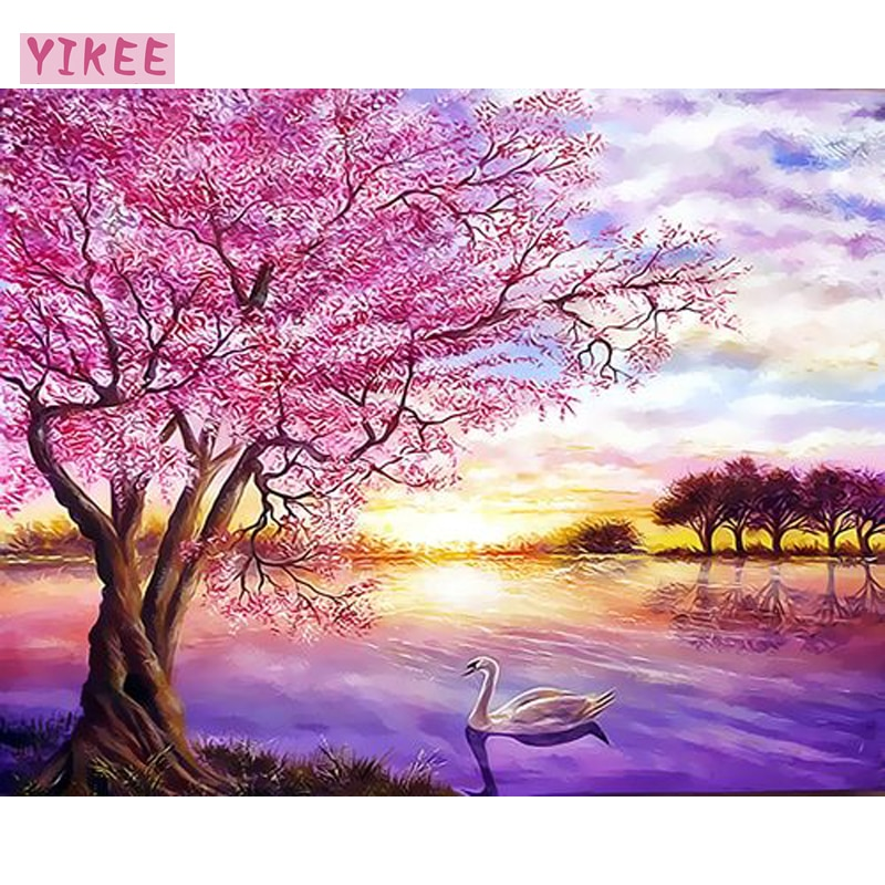 Ölfarbe durch zahl, farbe leinwand, rosa baum und schwan landschaft, malerei farbstoffe durch zahlen