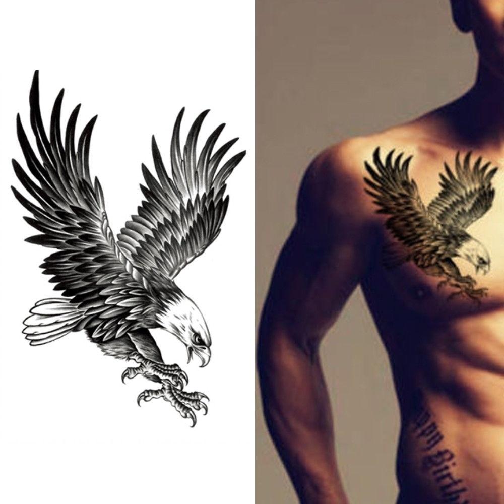 Геометрия крутой временный Татуировка наклейка водостойкая Мужская традиционная черный орел тату Цветок на руку орлиные крылья Орел Подде...