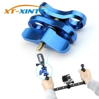 2 Open Holes Butterfly Clip Clamp Diving Light Bracket Tripod Connector Ball Head Mount Adapter for Gopro Sports SLR Cameras