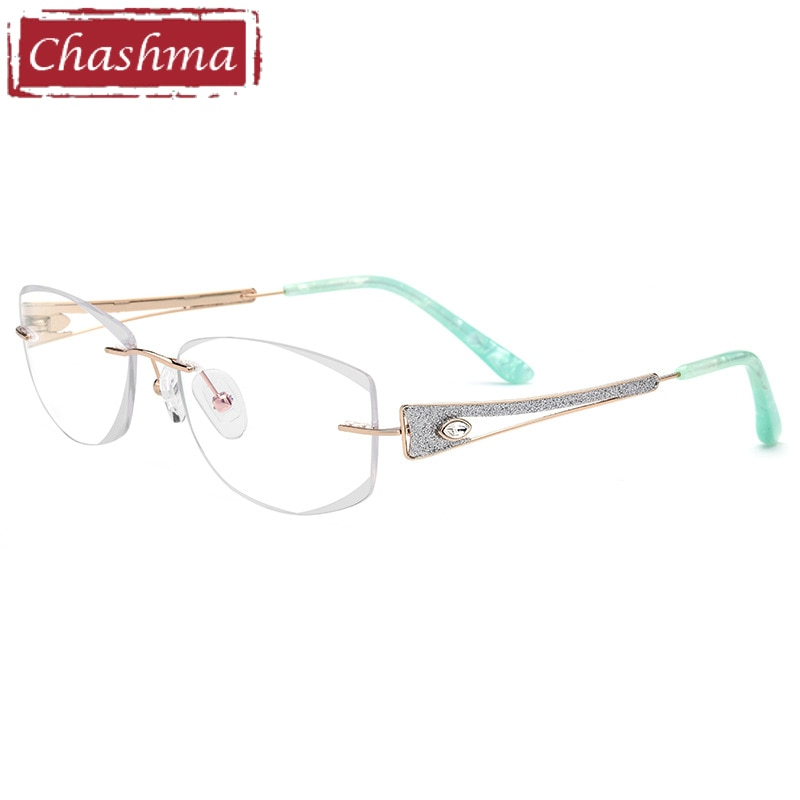 Gafas graduadas con montura para mujer, lujosas gafas de titanio sin montura con piedras, gafas de grau feminino armaca
