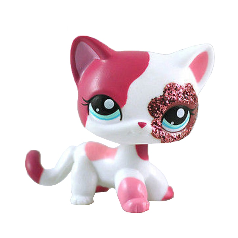 rare pet shop lps standing little short hair cat pink #2291 grey #5 black #994 old original pet toys kitten free shipping