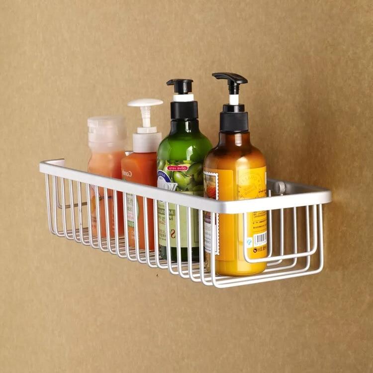 1PC Bathroom Shelves Chrome Silver Wall Rack Towel Hooks Washing Shower Cosmetic Basket Home Accessories Bath Shelf OK 0718
