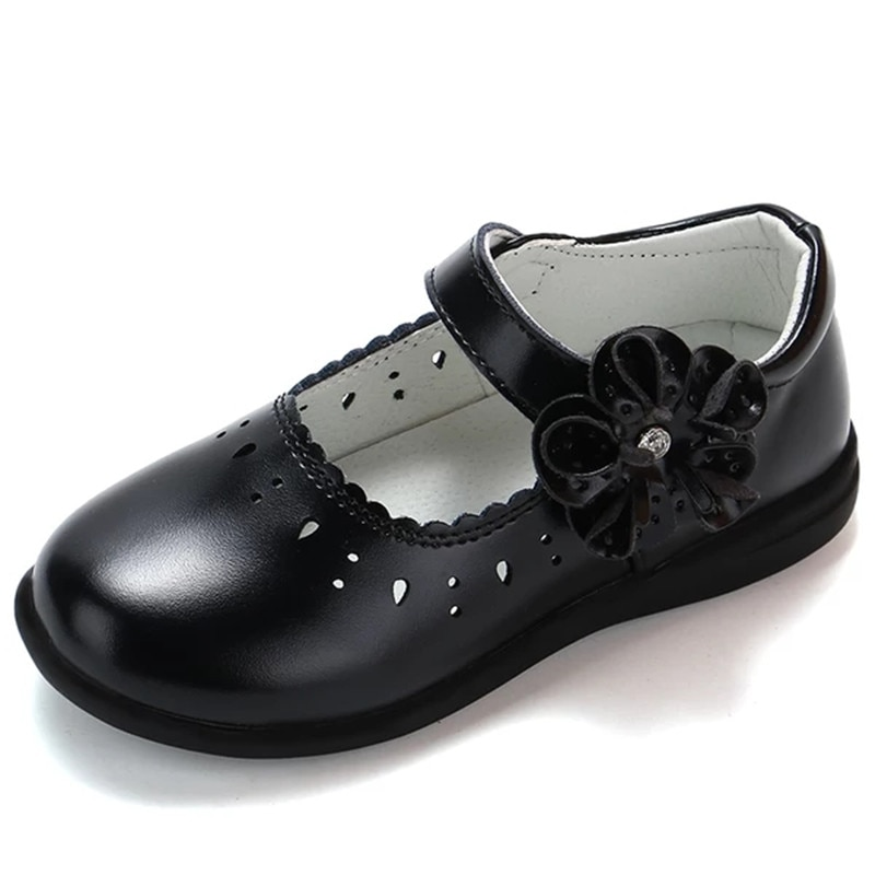Otoño, nuevos zapatos de princesa para niñas, zapatos de cuero escolar para estudiantes, zapatos de vestir negros para niñas 3 4 5 6 7 8 9 10 11 12-16T