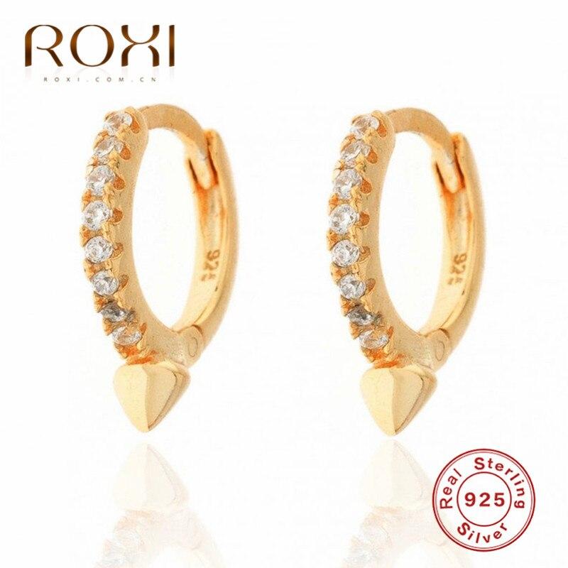 Pendientes de aro de cristal brillante ROXI circonita para hombres y mujeres, joyería Punk, Pendientes de círculo redondo, Pendientes de plata de ley 925