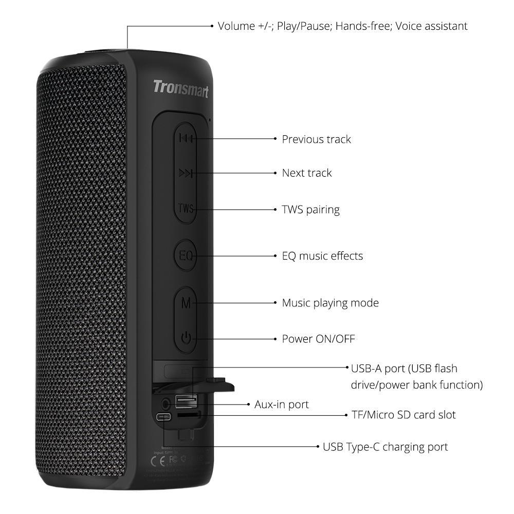 [In Stock] Tronsmart Element T6 Plus TWS Portable Bluetooth Speaker TF/SD Card 40W 15 hours outdoor portable mini Speaker enlarge