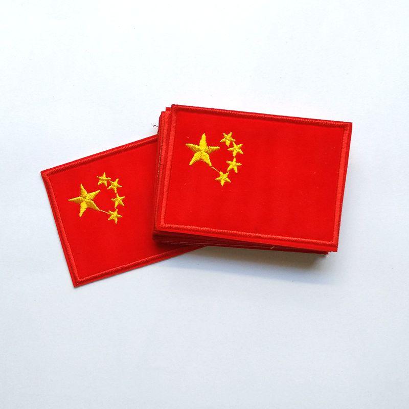Parche bordado de bandera nacional de China, parche 3D, brazalete militar, parches tácticos traseros, tamaño 82*58mm 12 unids/lote 011001037