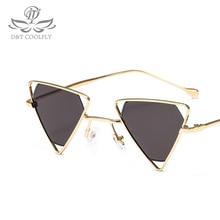 Lunettes de soleil triangulaires pour femmes   Lunettes de soleil simples et Vintage de marque célèbre, lunettes de soleil blanches noires UV400, 2019