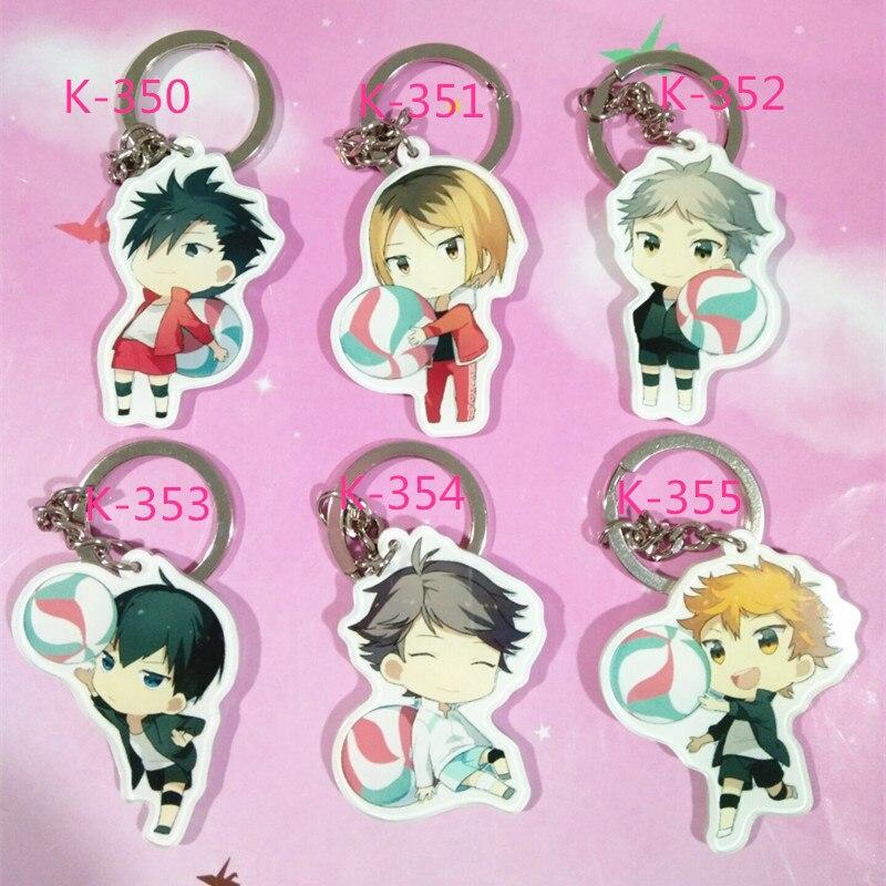 Set de 6 unidades de llavero de Anime Haikyu Nekoma, Kozume, Kenma, Kiyoko, Shimiz, llavero, Portachiavi, kulcstarto