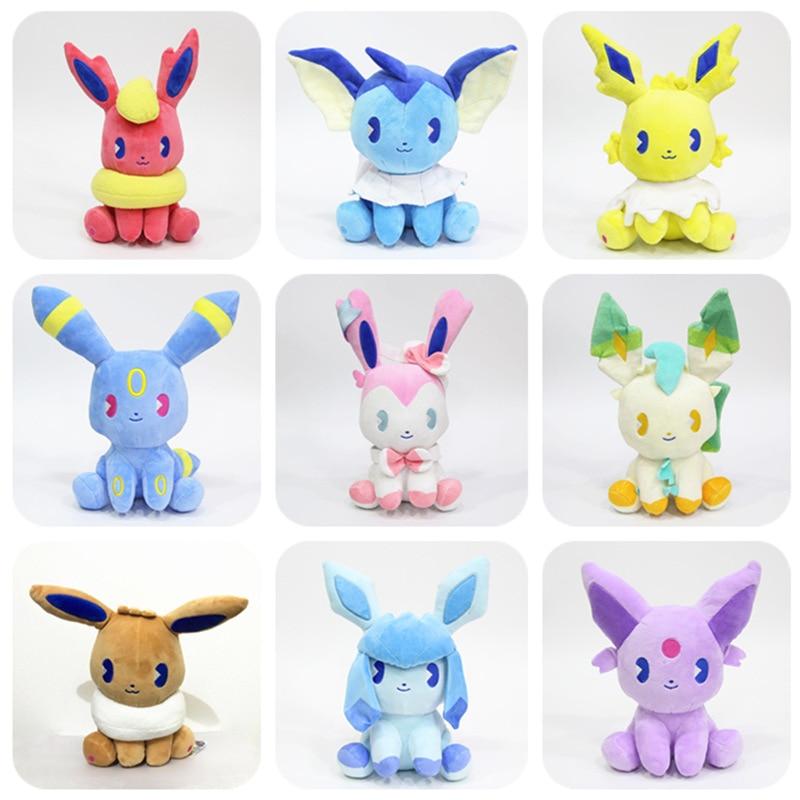 Summer Soda Pocket Animals Pikachu Eevee Family Plush Stuffed Dolls Sylveon Aquali Espeon Jolteon Vaporeon Toy Kids Gift 20cm