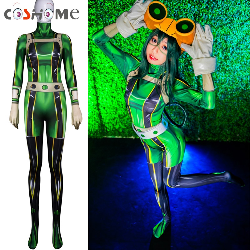 Coshome Boku No mi héroe Academia Asui tsuyu disfraces Cosplay mujer Mono para fiesta de Halloween