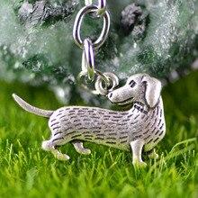 Mignon teckel porte-clés pour animaux de compagnie mémorial porte-clés teckel amant cadeau métal Hot Dog Weiner propriétaire sympathie porte-clés bijoux A187