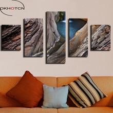OKHOTCN-peinture murale en cascade   Cadre imprimé, cascade Gorge National Park australie, tableau décoratif de maison, sur toile, 5 pièces