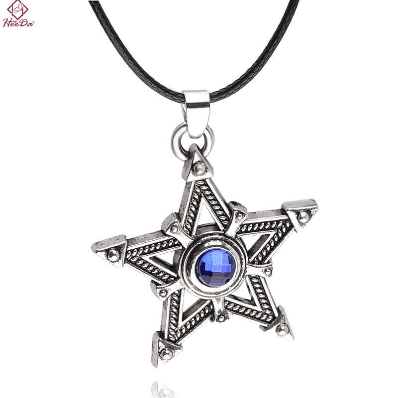 Collar con colgante de estrella a la moda Coreana de Heeda para mujer, collar Kolye Kpop de aleación de cristal azul con nombre grande, garantía para hombre sencilla