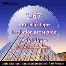 Lentilles anti-fatigue asphérique Ultra-mince   anti-rayonnement bleu, lentilles de prescription pour la myopie, lunettes de lecture pour ordinateur, verres de lunettes 1.74