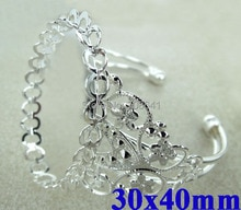 30x40mm Silver Plated Filigree Flower Oval Double Lace Bezel Tray Cabochon Bracelet cuff Bangle Settings Blank Wholesale