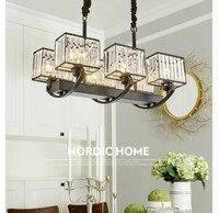 Free Shipping Modern Crystal Pendant Light Rectangle Crystal Light for Dining room Restaurant Hanging Suspension Lamp Lustres