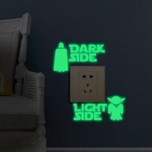 1 Set Hot koop Glow in dark Speelgoed Sticker Star Wars DARK LIGHT SIDE Lichtgevende Schakelaar Sticker glow in de nacht sticker