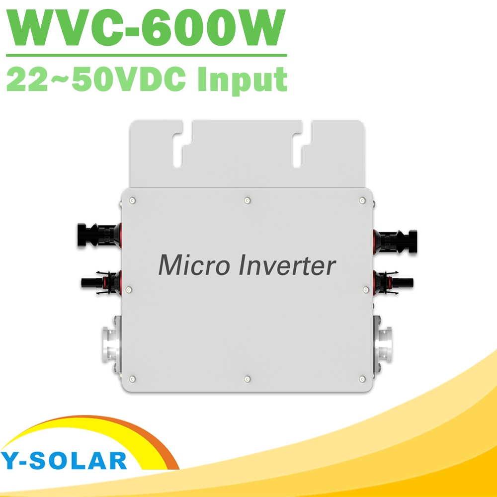 Inversor de onda sinusoidal pura a prueba de agua 600W 110V 220V en conexión a la red Micro inversor MPPT de alta eficiencia de transmisión de energía inversa