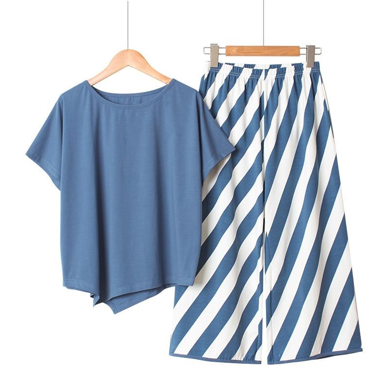 Conjunto de pijama holgado a rayas de manga larga para mujer, Conjunto de pijama de verano de algodón, pantalones largos de manga corta, ropa de dormir, traje coreano