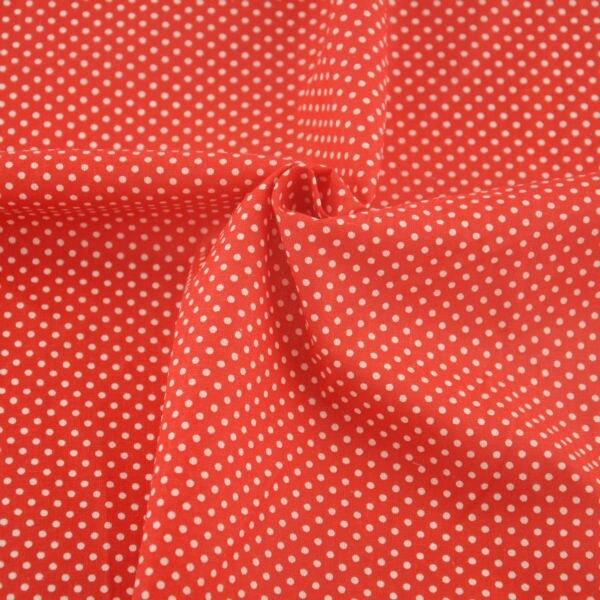 100% Cloth Cotton Tecido Decoration Sewing Textile Fabric Patchwork White Dots Design CM Red Colour Fat Quarter Art Work Curtain
