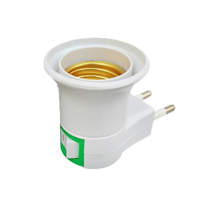 1PC Hot Sell Practical White E27 LED Light Socket To EU Plug Holder Adapter Converter ON/OFF For Bulb Lamp