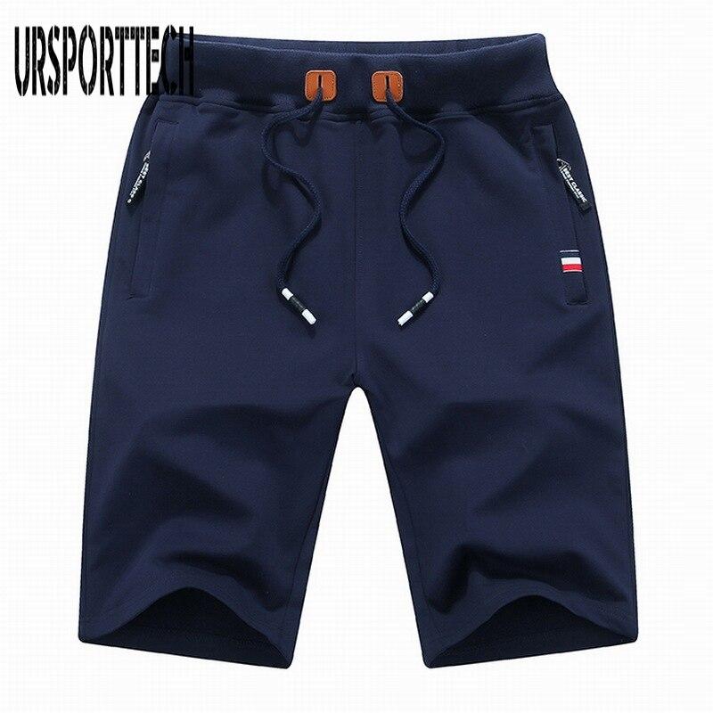 Брендовая одежда URSPORTTECH, мужские шорты, хлопковые повседневные мужские короткие летние мужские пляжные шорты, мужские бриджи