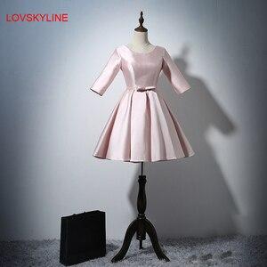Short prom dress Pretty Three Quarter Sleeves O-neck Light Pink Sashes Satin Fashion Short Dresses  New Bridesmaid Dresses