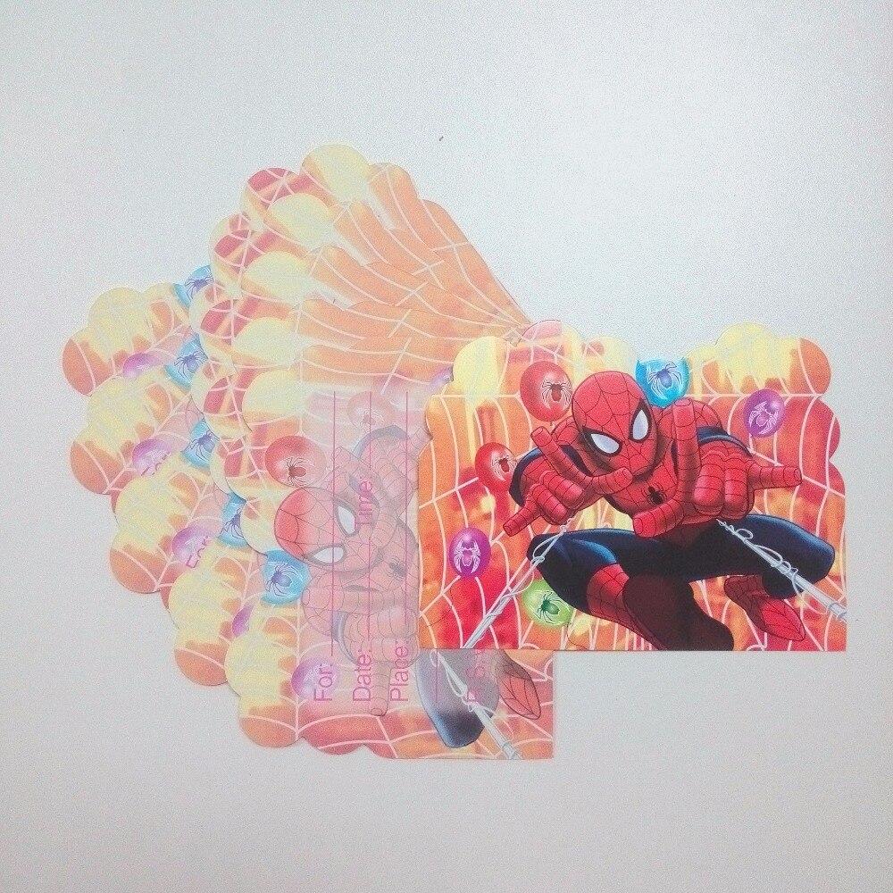 Carte dinvitation Spiderman 6 pièces/sac   Décoration pour fête anniversaire garçon, dessin animé, fournitures de fête à thème, Festival rouge