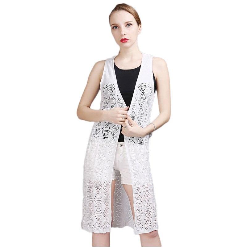 Cárdigan largo perforado Argyle para mujer, cárdigan fino suelto sin mangas para el cuidado del verano, cárdigan tejido, camisa, suéter, abrigo de otoño
