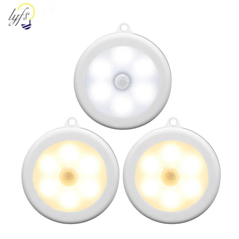 LED Wireless PIR Infrared Human Motion Sensor Night Light Sensing Lights Wall Lamp Closet Cabinet Stairs Automatic Lamps