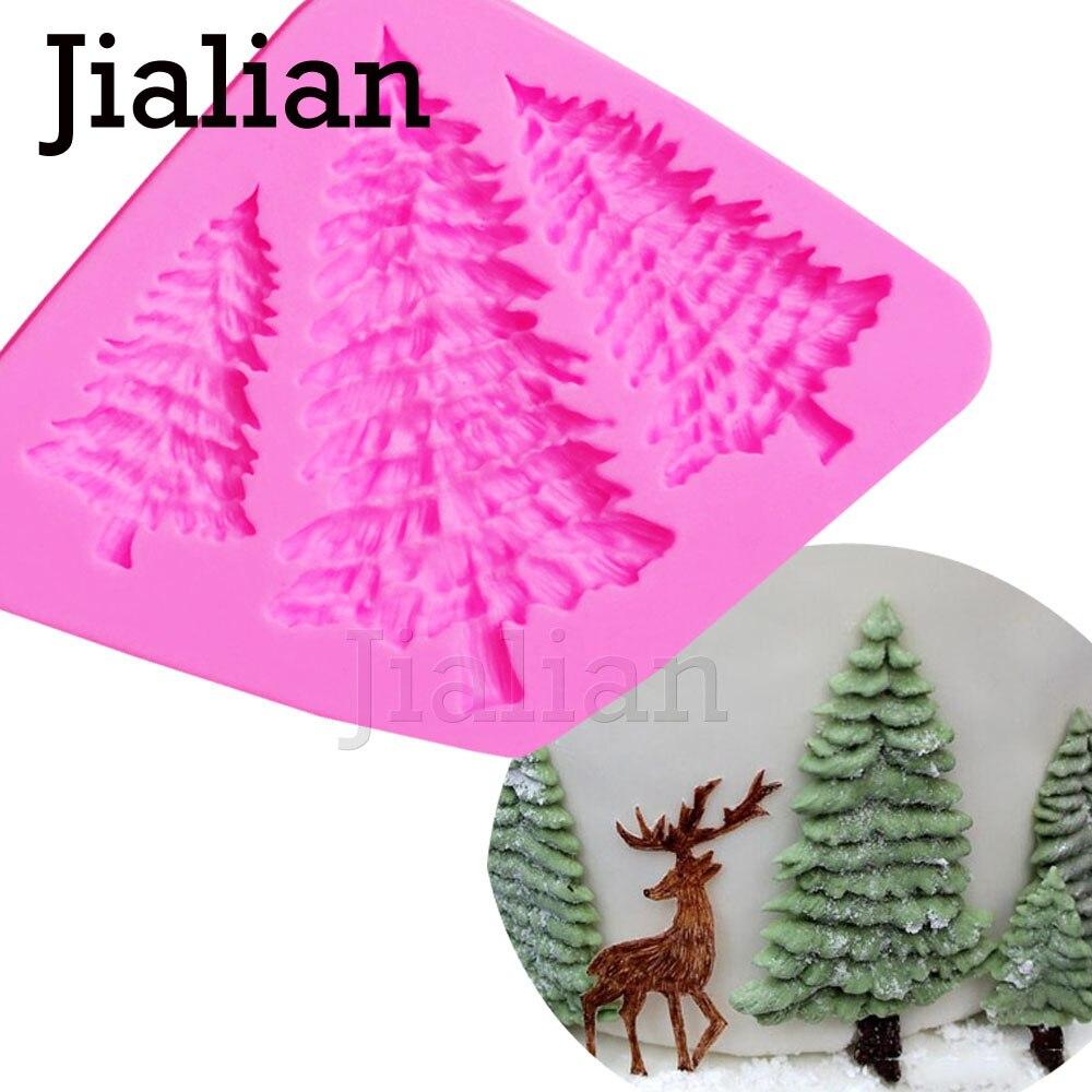 Силиконовая форма для рождественской елки, 3 отверстия, украшения торта, Fondant Инструменты для приготовления печенья, 3D силиконовая форма, клейкая паста, конфета T0972